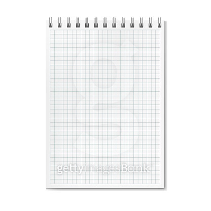 Vertical vector realistic graph ruled notebook