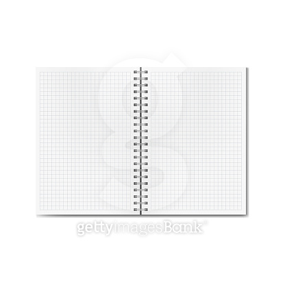 Vector opened realistic graph or quad ruled notebook