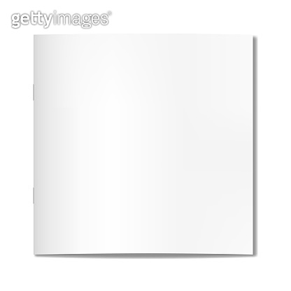 Vector realistic square closed book, journal or magazine on staples mockup