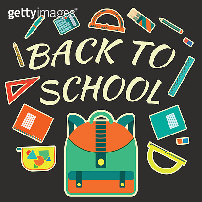 Flat colorful vector poster with school tools with back to school text on dark background