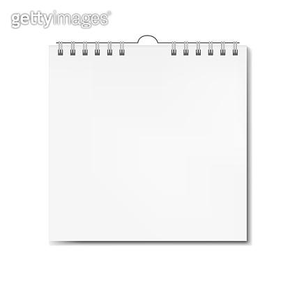 Realistic vector square calendar on spiral mockup