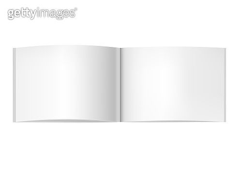 Two-pages opened horizontal magazine mockup