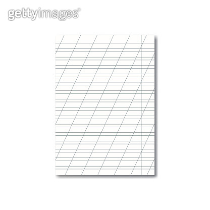 Vector opened school cursive worksheet with shadow