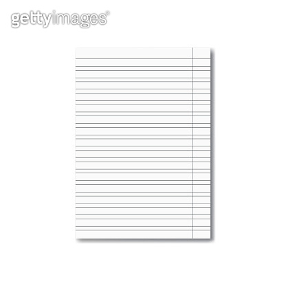 Vector realistic school copybook sheet with shadow