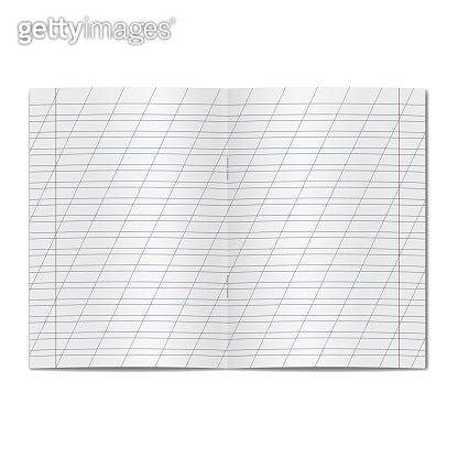 Vector opened school cursive worksheet copybook