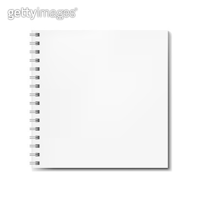 Realistic square spiral notebook mockup