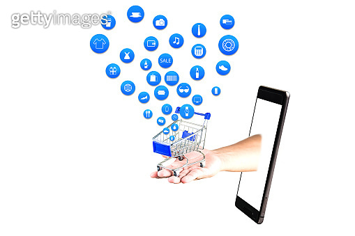 smart phone or tablet on white background with shopping icon set or product icon set, Koncept shopping online