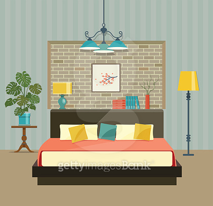 Bedroom with a bed near a brick wall. Vector flat illustration