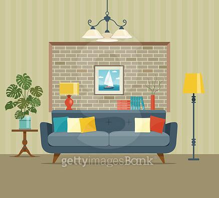 Retro interior living room with  monstera. Vector flat illustration