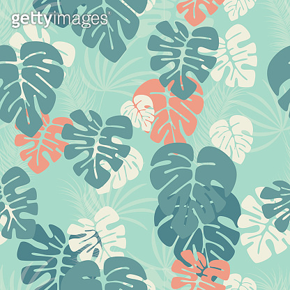 Seamless pattern with monstera palm leaves and plants on blue background, vector illustration