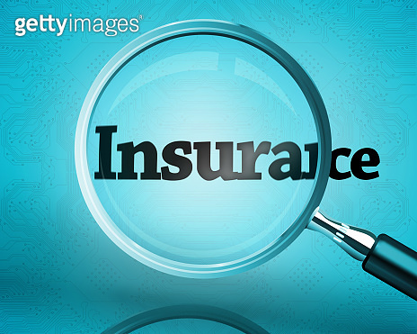 Magnifying glass showing the word insurance