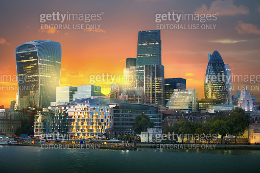 City of London at night. Business and travel concept
