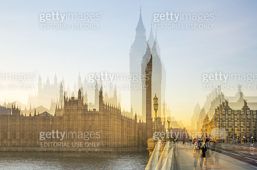 Houses of Parliament and Big Ben view from Westminster bridge. London