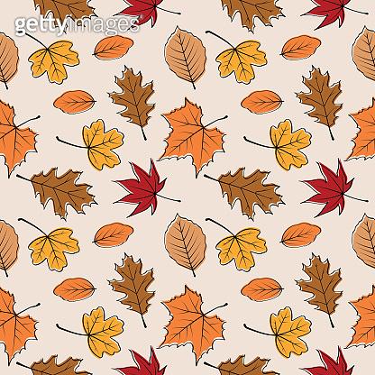 Autumn leaves seamless pattern vector illustration