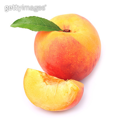 Peach with leaves
