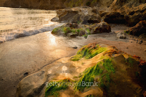wave on rock with sea weed at low tide, Digital oil painting