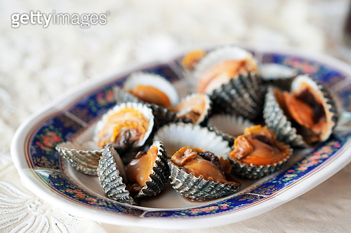 Fresh blood cockle or Blood clam - Steamed blanched clams served with dipping sauce