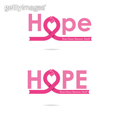 Hope word icon.Breast Cancer October Awareness Month Campaign Background.Women health vector design.Breast cancer awareness icon design.Breast cancer awareness month icon.Realistic pink ribbon.