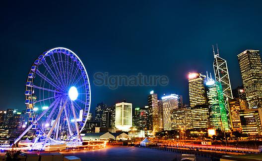 Ferris wheel in downtown Hong Kong