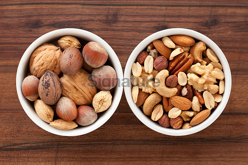 Whole and peeled nuts