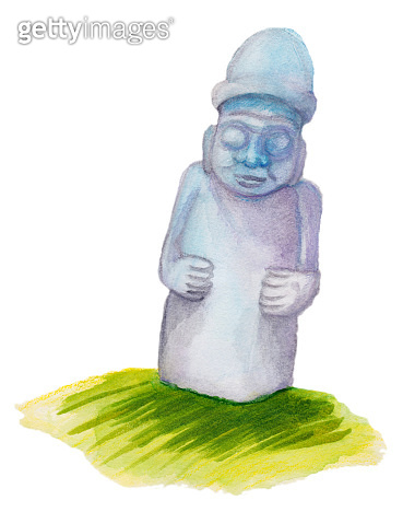 Waterclor hand drawn illustration for Jeju island promotion: dol hareubang, also called tol harubang or Jeju Stone Grandfather. Famous Jeju Stone or Rock Statue.