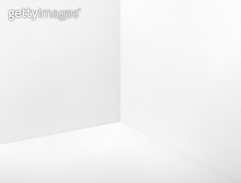Empty room corner painted in white color studio room background,Mock up template for display or montage of design or text
