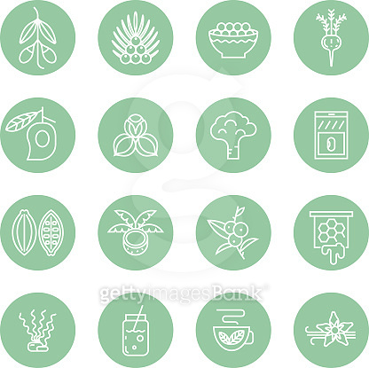 Superfoods line vector icons.