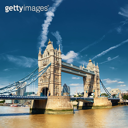 Tower Bridge on a bright sunny day in London, England, UK