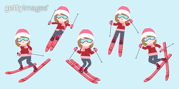 woman is skiing