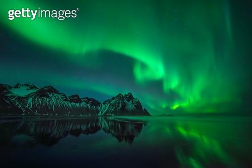 Stokksnes aurora reflections
