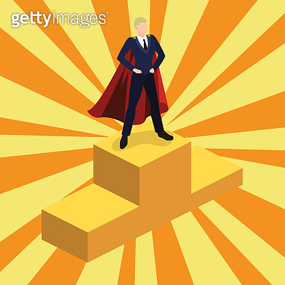 Isometric 3D concept vector illustration the businessman took the first place and rises on the podium of the winners. Abstract background with rays.