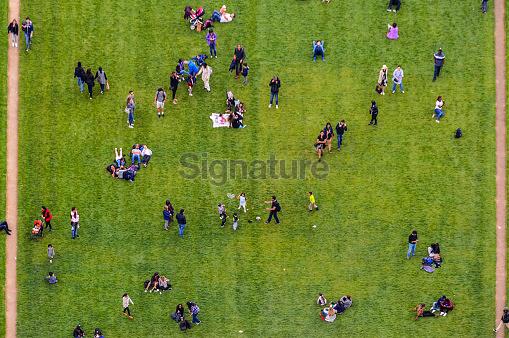 Aerial view crowd of people in park