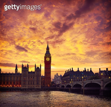 Big Ben Clock Tower London at Thames River