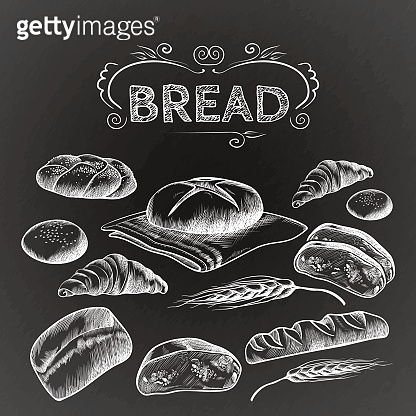 Bread items set isolated illustration on dark grey
