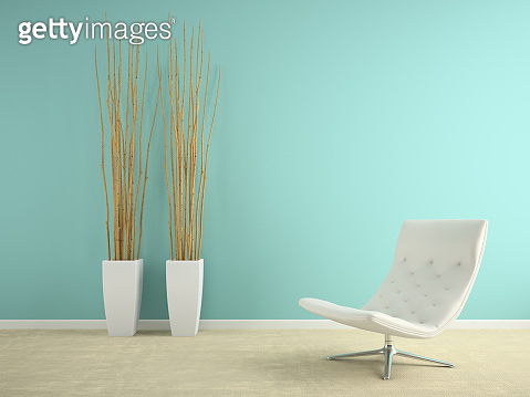 Part of interior with armchair and vases 3D rendering
