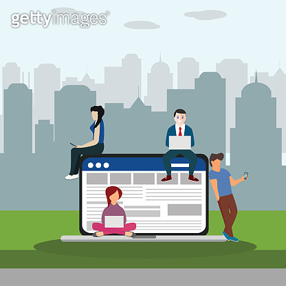 Social network web site surfing concept illustration of young people