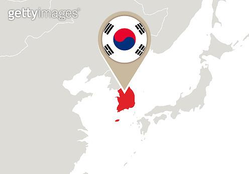 South Korea on World map