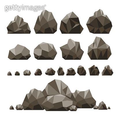 Stones and rocks 3d isometric illustration