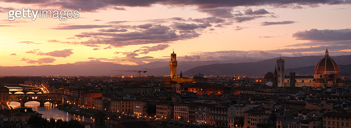 Old Bridge (Ponte Vecchio) in Florence at sunset as seen from Piazzale Michelangelo, Italy.