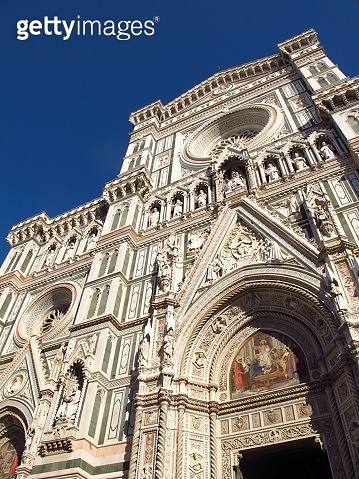 The facade of Cathedral Santa Maria del Fiore in Florence, Italy.