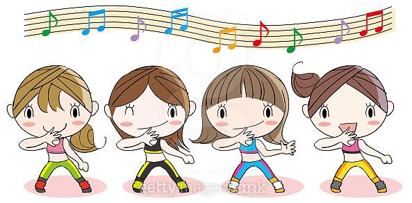 Four girls dancing pose set