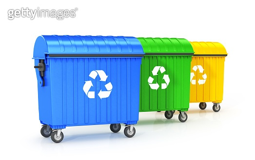 trash cans are placed in a row, blue, green, yellow garbage container, isolated on a white background.