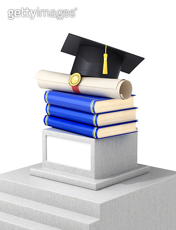 Steps leading to the graduation cap and the diploma sheet on the pedestal.