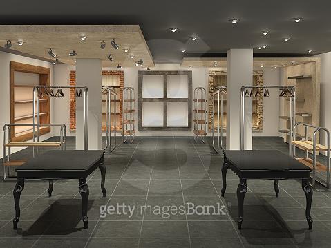 big shop  inside empty, 3d illustration