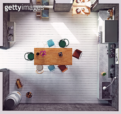 Top view of the modern kitchen