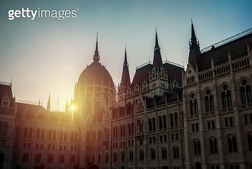 Budapest, Hungary - December 31, 2016: Parliament building in Budapest, with details on the facade and  monuments of the building