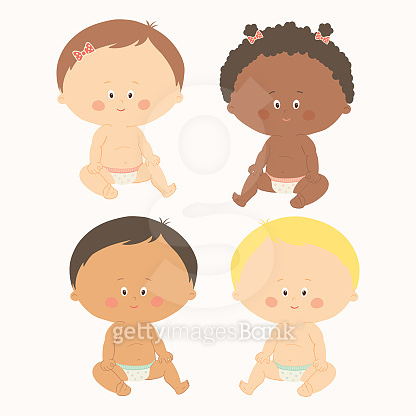Multi-ethnic set of four babies sitting. Toddler girls and boys. Cartoon vector hand drawn eps 10 illustration isolated on white background