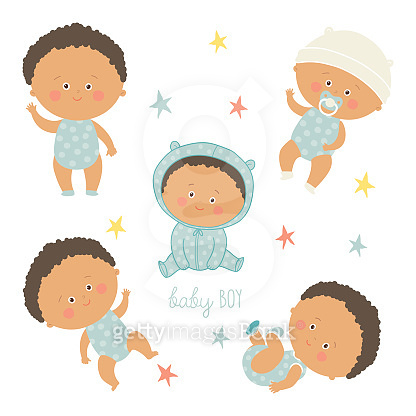 African baby set. African American toddler boys.