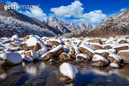 Seoraksan mountains is covered by snow in winter, South Korea.