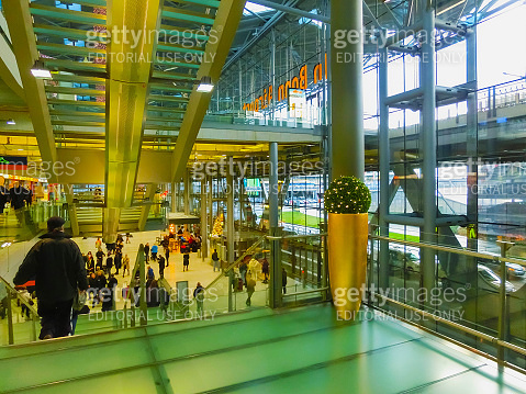 Cologne, Germany - December 12, 2017: The inside view of Cologne Bonn Airport.